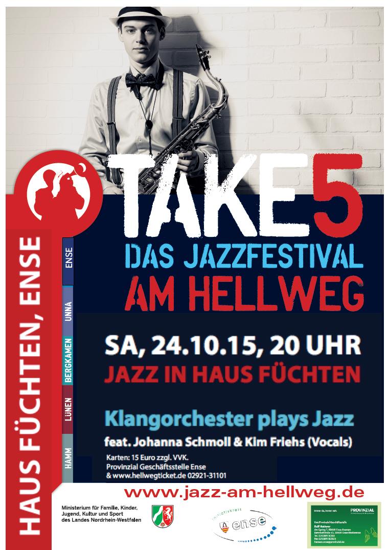 Konzertankündigung: Jazz-Konzert im Festsaal Haus Füchten, am Samstag, 24.10.2015 um 20:00 Uhr